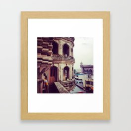 Vintage asian architecture - Streets of India Framed Art Print