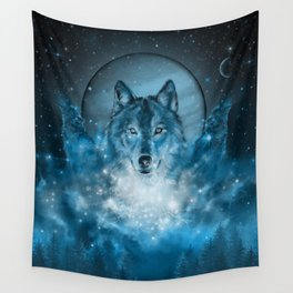 wolf in blue Wall Tapestry