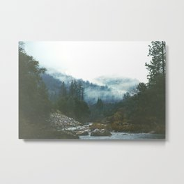 Into the foggy woods - Nature Landscape Photography Metal Print