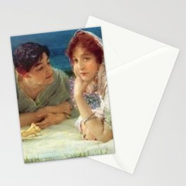 Paolo and Francesca in Love in Fields of Aster on Hillside of Coast of Tuscany, Italy Stationery Cards