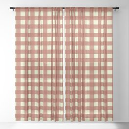 BRICK RED CHECK Sheer Curtain