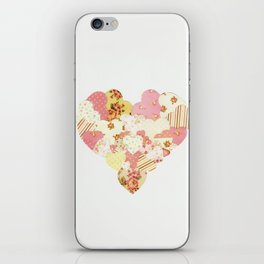 patchwork heart iPhone Skin