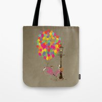 brompton Tote Bags featuring Love to Ride my Bike with Balloons even if it's not practical. by Wyatt Design