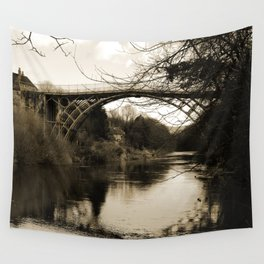 Worlds First Ironbridge over River Severn in England in sepia Wall Tapestry