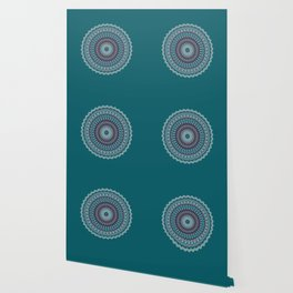 Turquoise Teal Magical Mandala Wallpaper