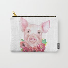 Piglet with Flowers 3 Watercolor Carry-All Pouch