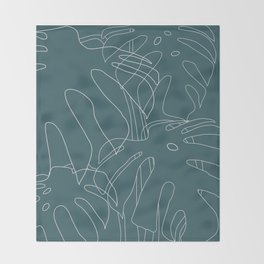 Monstera No2 Teal Throw Blanket