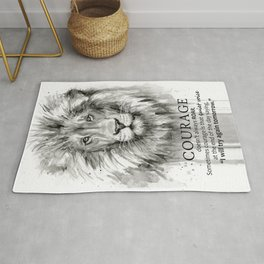 Lion Courage Motivational Quote Watercolor Painting Rug