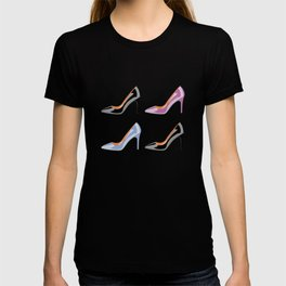 High heel shoes in black, serenity blue and bodacious pink T-shirt