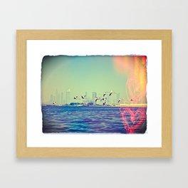 Flamingo Hearts Framed Art Print