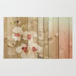 Orchid Flowers & Wood Collage Rug