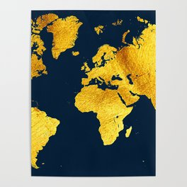 Royal Blue and Gold Map of The World - World Map for your walls Poster