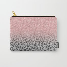 Elegant Rose Gold & Silver Glitter Leopard Print Carry-All Pouch