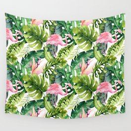 Flamingo Tropical || #pattern #tropical Wall Tapestry