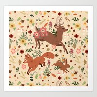 woodland Art Prints featuring Woodland by Sophie Eves