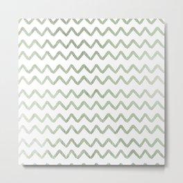Chic elegant blush green modern chevron Metal Print