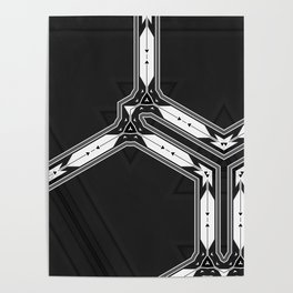 Abstract  Black and White Multi Pattern Poster