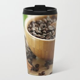 Still life of bamboo shell with fine Arabica coffee as kitchens Travel Mug