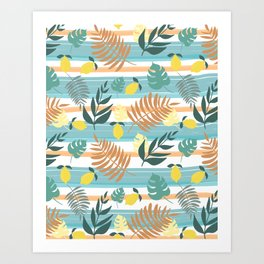 Botanical Collage With Stripes Art Print