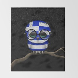 Baby Owl with Glasses and Greek Flag Throw Blanket