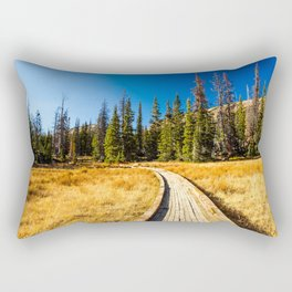 Wooden hiking trail in the forest Rectangular Pillow