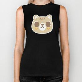 Cute Bear Pattern / Repeat Print / Orange Biker Tank