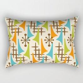 Retro Mid Century Modern Atomic Wing Pattern 421 Brown Orange Turquoise and Olive Green Rectangular Pillow