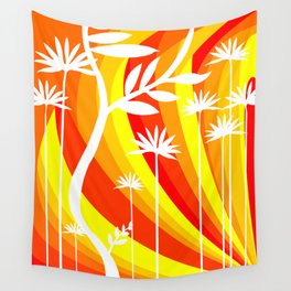 Orange and Yellow Ombre Gradient Background with White Botanical Plant Wall Tapestry