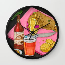 Beer with Lemon Wall Clock