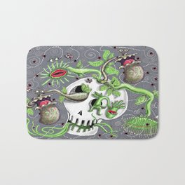 skull pot with carnivorous plants Bath Mat