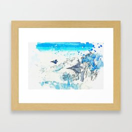 F16 Fighter Jets flying over Arctic Circle watercolor by Ahmet Asar Framed Art Print