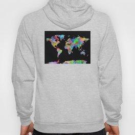 world map watercolor black 2 Hoody