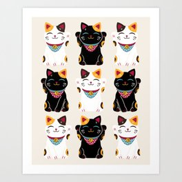 Maneki Neko - Lucky Cats Art Print