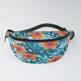 Tropical Hibiscus Pattern Orange Fanny Pack