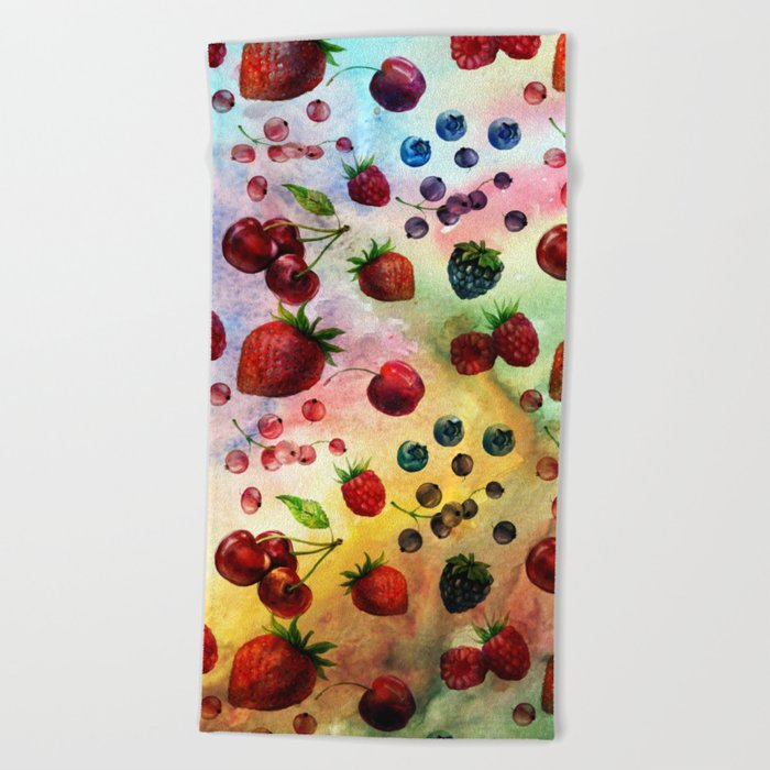Summer fruits- Fresh strawberry berry pastel pattern Beach Towel