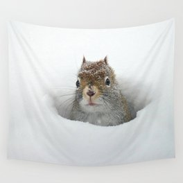 Pop-up Squirrel in the Snow Wall Tapestry