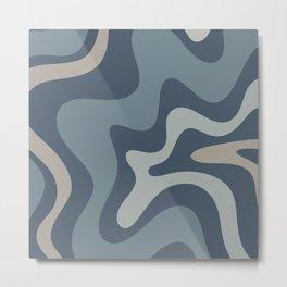 Retro Liquid Swirl Medium Square Abstract Pattern in Steel Blue-Gray Tones Metal Print