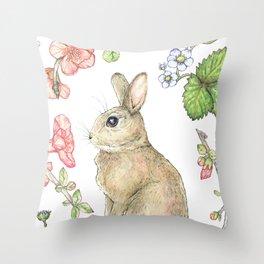 Floral Bunny Throw Pillow