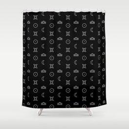 Gemini/Libra + Sun/Moon Zodiac Glyphs Shower Curtain