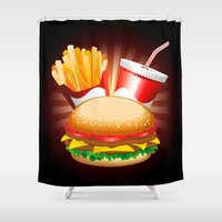 hamburger Shower Curtains featuring Fast Food Hamburger Fries and Drink by BluedarkArt