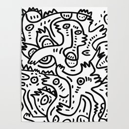 Summer Monsters Street Art Black and White Graffiti Poster