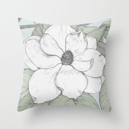 magnolia in tint Throw Pillow