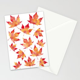 Maple leaves white Stationery Cards