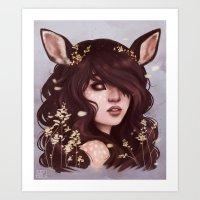 Deer Lady Art Print