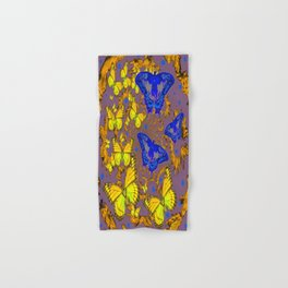 Decorative Blue & Yellow Butterfly Patterns Hand & Bath Towel