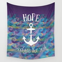 anchors Wall Tapestries featuring Hope Anchors the Soul by Noonday Design