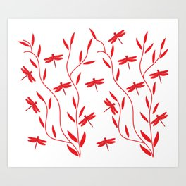 Drawing Vector Nature Red Dragonfly Art Print
