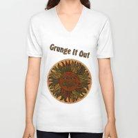 grunge V-neck T-shirts featuring Grunge by BohemianBound