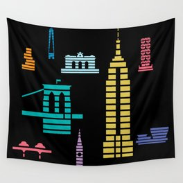 New York Skyline Empire State Poster Black Wall Tapestry