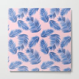 Tropical Palm Leaves - Pink and Blue Palette Metal Print